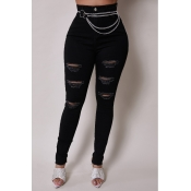 Lovely Stylish Hollow-out Black Jeans