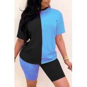 Lovely Sportswear Patchwork Baby Blue Plus Size Tw