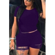 Lovely Trendy Hollow-out Modena Plus Size Two-piece Shorts Set