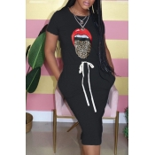 Lovely Leisure O Neck Lip Print Black Knee Length