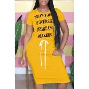 Lovely Leisure O Neck Letter Print Yellow Knee Len