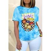 Lovely Street O Neck Cartoon Print Blue T-shirt