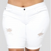 Lovely Stylish Broken Holes White Plus Size Shorts