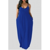 Lovely Leisure Pocket Patched Blue Maxi Plus Size