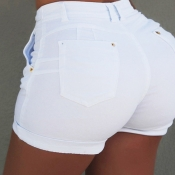 Lovely Casual Lace-up White Plus Size Shorts