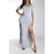 Lovely Stylish Side High Slit Grey Maxi Dress