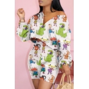 Lovely Casual Cartoon Print White Two-piece Shorts