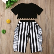 Lovely Trendy Striped Black Girl Two-piece Pants Set