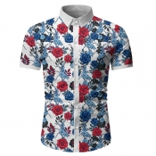 Lovely Bohemian Turndown Collar Print White Shirt