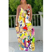 Lovely Casual Cartoon Print Multicolor Maxi Dress
