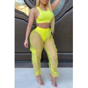 Lovely Trendy See-through Yellow Two-piece Pants Set