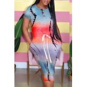 Lovely Casual Tie-dye Multicolor Knee Length Dress