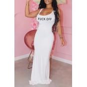 Lovely Leisure Letter White Maxi Dress