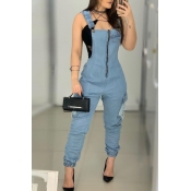 Lovely Stylish Zipper Design Baby Blue One-piece J