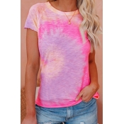 Lovely Casual O Neck Tie-dye Rose Red Plus Size T-