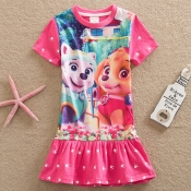 Lovely Casual Print Pink Girl Mid Calf Dress
