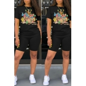 Lovely Casual Cartoon Print Black Two-piece Shorts