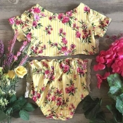 Lovely Sweet Floral Print Yellow Girl Two-piece Sh