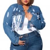 Lovely Casual Tassel Design Blue Plus Size Jacket