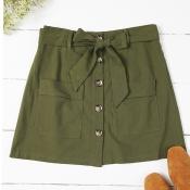 Lovely Trendy Buttons Design Army GreenSkirt