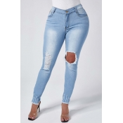 Lovely Trendy Hollow-out Blue Jeans