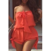 Lovely Stylish Lace-up Red Plus Size One-piece Rom
