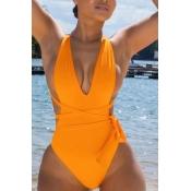 Lovely Bandage Design Orange One-piece Swimsuit