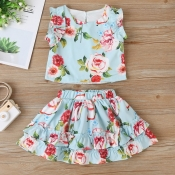 Lovely Stylish Print Baby Blue Girl Two-piece Skir