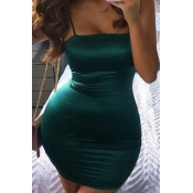 Lovely Sexy Basic Skinny Green Mini Plus Size Dres