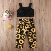 Lovely Sweet Print Black Girl Two-piece Pants Set