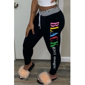 Lovely Leisure Letter Black Pants