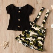 Lovely Trendy Print Black Girl Two-piece Shorts Se