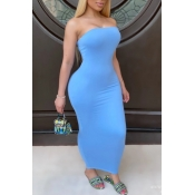 Lovely Trendy Dew Shoulder Baby Blue Ankle Length Dress