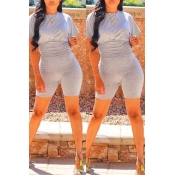 Lovely Casual O Neck Skinny Grey Two-piece Shorts