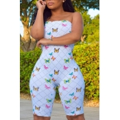 Lovely Stylish Dew Shoulder Butterfly Print WhiteOne-piece Romper