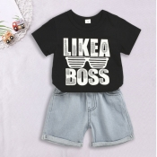 Lovely Casual Letter Black Boy Two-piece Shorts Se