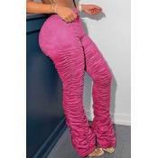 Lovely Trendy Fold Design Pink Pants