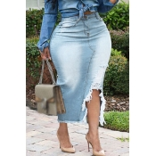 Lovely Casual Torn Edges Baby Blue Plus Size Skirt