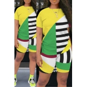 Lovely Leisure Color-lump Patchwork Yellow Two-piece Shorts Set