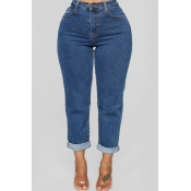 Lovely Trendy Basic Deep Blue Jeans