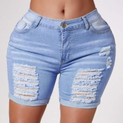 Lovely Stylish Broken Holes Blue Shorts