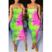 Lovely Leisure Tie-dye Green Mid Calf Dress