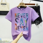Lovely Casual O Neck Letter Purple T-shirt