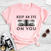 Lovely Street O Neck Letter Print Pink T-shirt