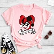 Lovely Street Cartoon Print Pink T-shirt