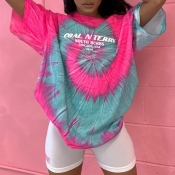 lovely Leisure O Neck Tie-dye Pink T-shirt