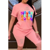 lovely Leisure O Neck Letter Print Pink Plus Size