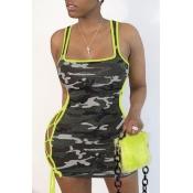 lovely Sexy Camo Print Mini Dress