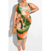 lovely Trendy Tie-dye Blackish Green Plus Size Two