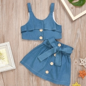 lovely Sweet Buttons Design Blue Girl Two-piece Sk